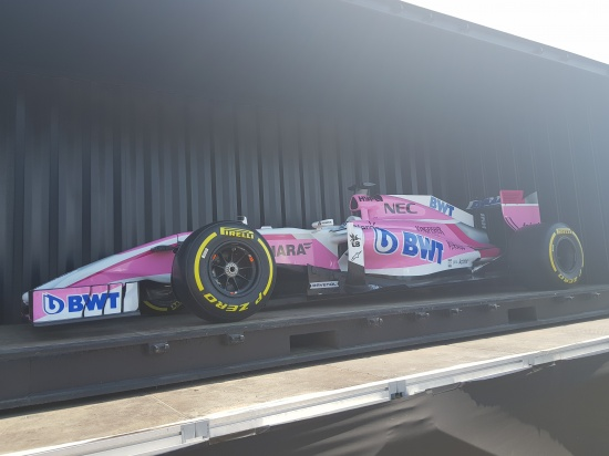 Force India Formula One Car on display at Silverstone Woodlands Campsite